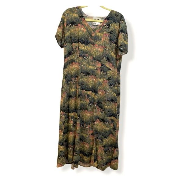 Flax watercolor floral print dress